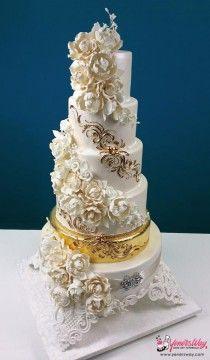 Белые & Gold Свадебные торты