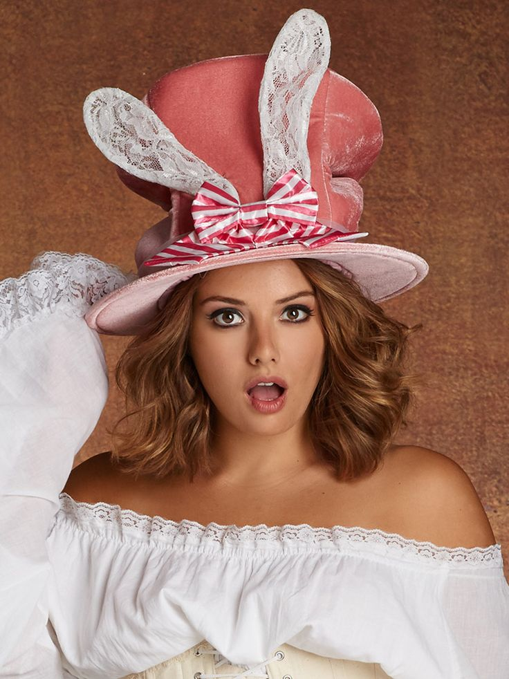 Mad Hatter Bunny Ears Top Hat One Size In Pink By Hips & Curves #Plussizeclothing http://www.planetgoldilocks.com/plussize_clothing #madhatter #madhatterteaparty#teaparty #costumes