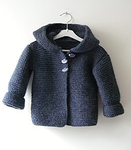 free garter stitch hooded baby cardigan