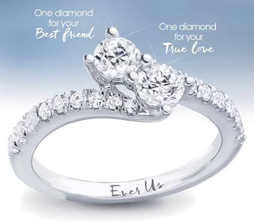 "Ever Us Diamond Ring... ""One diamond for your best friend. One diamond for your true love. One ring forever"" | bridesandrings.com"