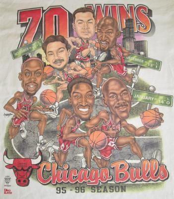 Vintage 90's NBA CHICAGO BULLS Caricature Cartoon Michael Jordan T-Shirt