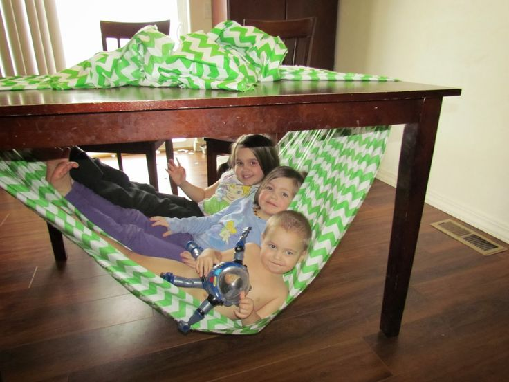 The Not So Original Mommy: Under Table Hammock for Kids :) Gives directions on how to do this for your kids!