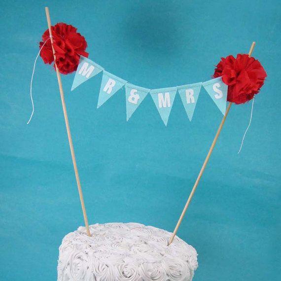 Cake banner Blue Red wedding cake Mr & Mrs by Hartranftdesign, $29.00