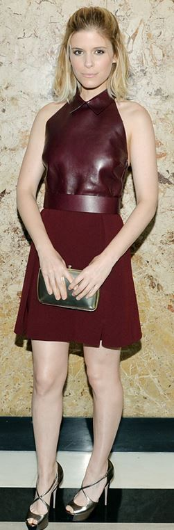 Who made Kate Mara's silver platform shoes and red dress