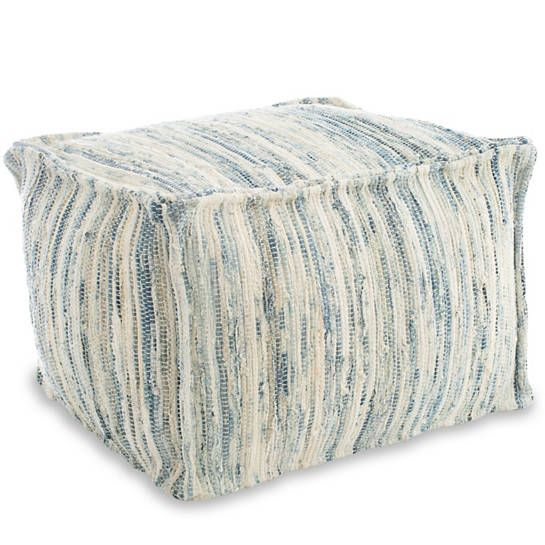 Denim Rag Woven Pouf $228.00   – spanish class ideas