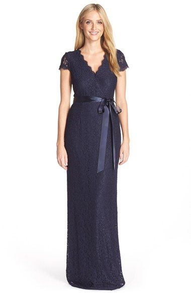 Adrianna Papell Lace Faux Wrap Gown (Regular & Petite) available at #Nordstrom-Navy or Prune-$209.00