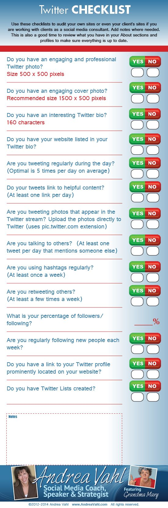 Are you getting everything right on #Twitter? Use this checklist to audit your Twitter account. #infographic #smbiztips http://www.andreavahl.com/twitter/twitter-checklist-infographic.php Twitter Checklist [Infographic]