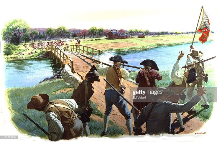 A painting depicting Colonial Minutemen holding off the British Army at the North Bridge during the Battle of Concord on April 19, 1775 in Concord, Massachusetts.