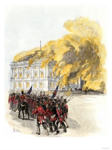 British Army Burning the White House in 1814 during the War of 1812. (Giclee Print)
