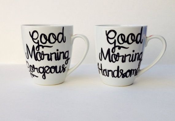 Mr. and Mrs. his and hers Good Morning Gorgeous Good Morning Handsome Coffee Mugs Wedding Anniversary Gift Valentines Gift