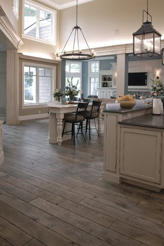 "Victorian™ Collection 6-3/4"" (17 cm) Vintage French Oak hardwood floor, hand scraped, hand carved beveled Tuscany™ Style, hand distressed, acid-cured, dyed and stained in custom Gray color, triple Hardwaxed."
