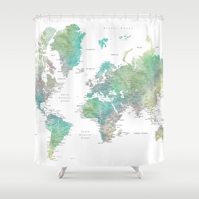 Buy Watercolor World Map In Muted Green And Brown Shower Curtain By Blursbyaishop Worldwide Shipping Brown Shower Curtain Green Bathroom Water Color World Map