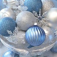 Bauble table centrepiece - great alternative to a floral arrangement