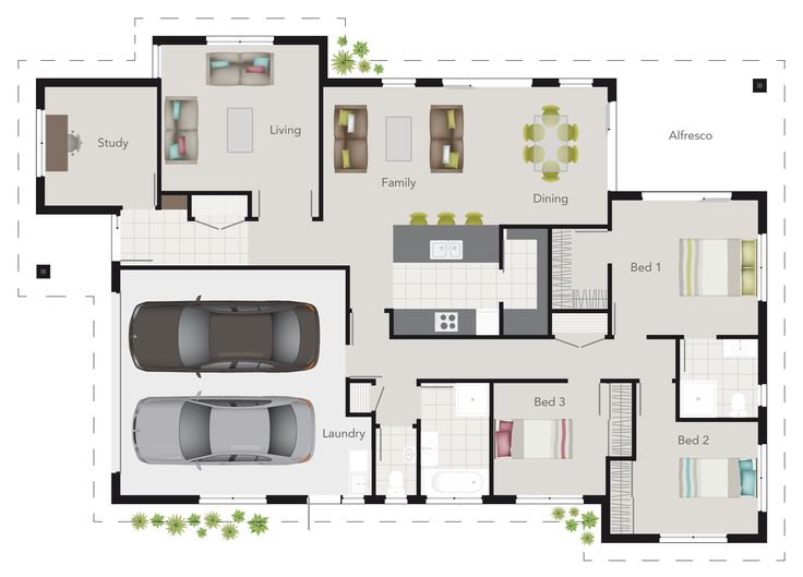 G J Gardner Wright Plan 3 Bedroom Floor Plan With Study