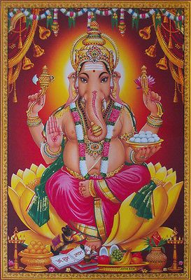 Lord Ganesha Shree Ganesh on Yellow Lotus - Big Poster (20x30 Inch)