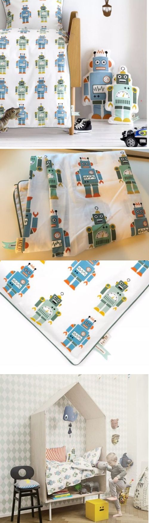Duvet Covers and Sets 134278: Ferm Living Robot Toddler Duvet Cover 100% Organic Cotton Nwot Boys Zip Closure -> BUY IT NOW ONLY: $54.95 on eBay!