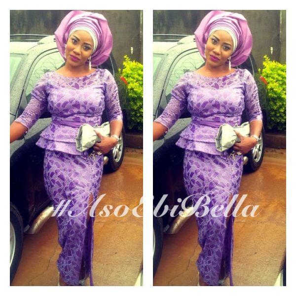 Purple Lace Skirt & Blouse & Lilac & Silver Gele | Aso Ebi ...