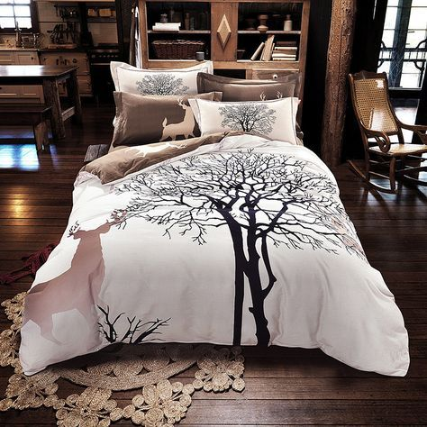 Queen size Deer and Trees Brown bedding set (4pcs) includes: - 1x Duvet Cover: 200x230cm (79x91inches) - 1x Flat Sheet: 245x245cm (96x96inches) - 2x Pillowcase: 48x74cm (19x30inches) King size Deer an