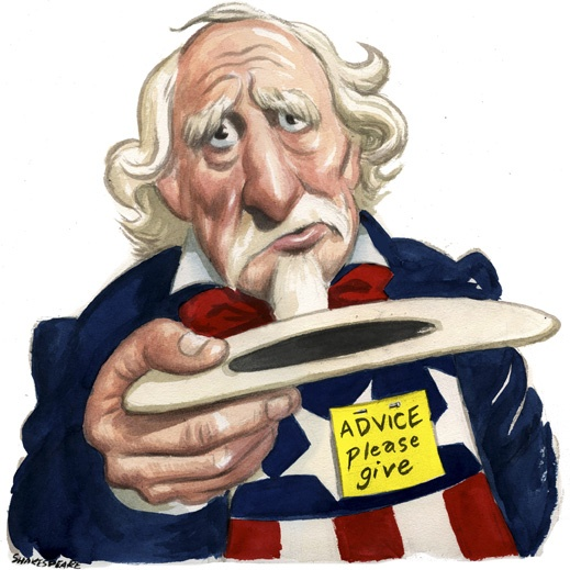 Uncle Sam in need. Illustration  by John Shakespeare Sydney Morning Herald