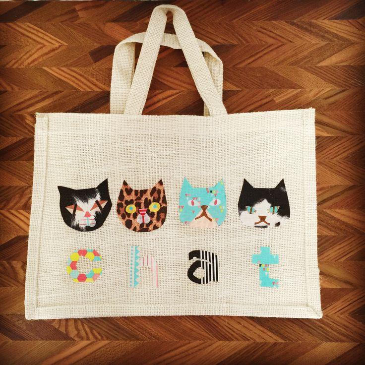 decopatch jute linen tote bag animal motif