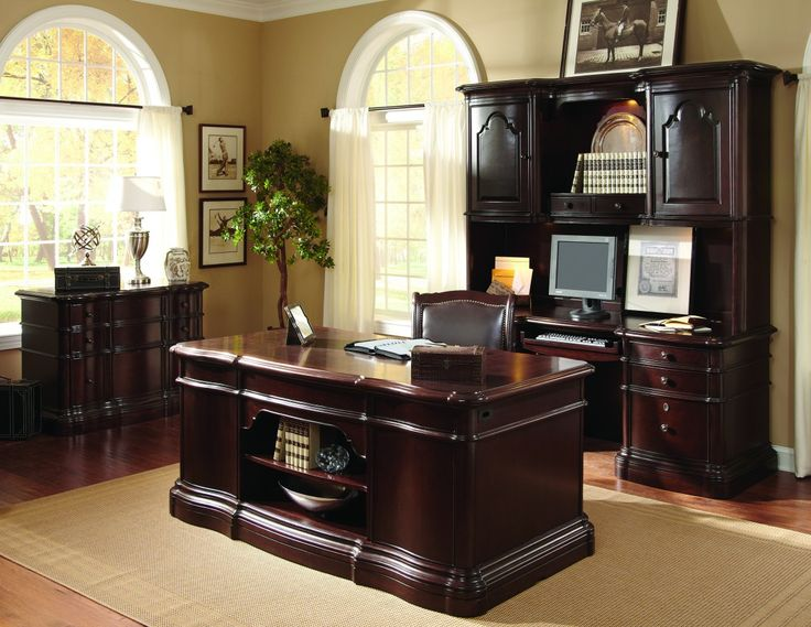 Charming Home Office Furniture Ideas Executive Desk Credenza In Dark Brown Lacquer Finishing Wood With Under Storage Centerpieces And Equipped By Chairs In Front Of Sauder Wooden Shelf Cabinet In Cherry Finish, Charming Excellent Home Office Furniture Ideas: Furniture, Interior, Office Room, Work Space