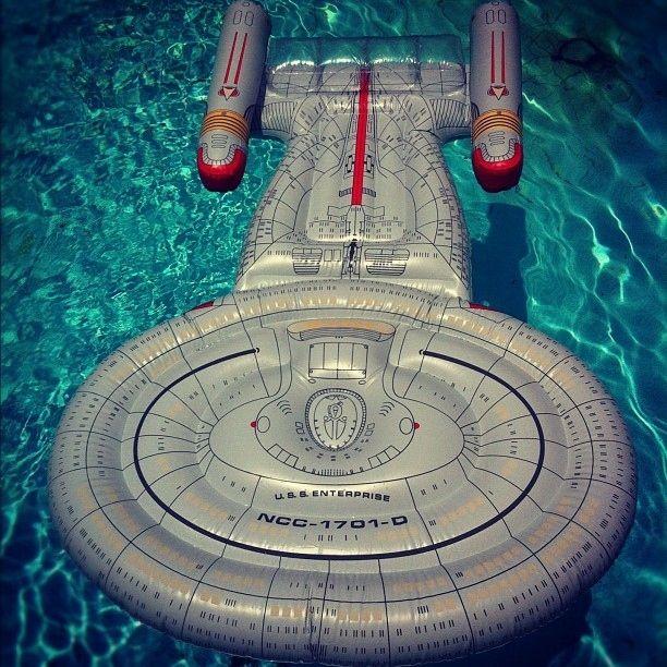 This amazing U.S.S Enterprise pool float