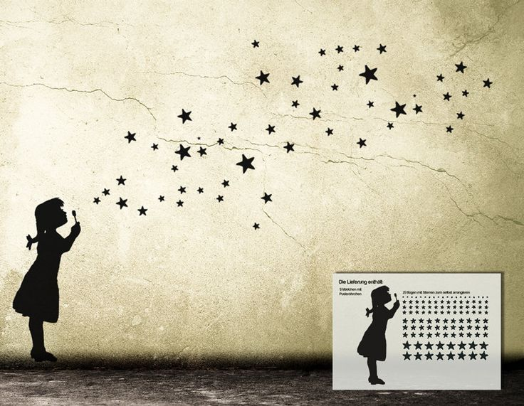 Wall Decal STAR BUBBLE Girl DIY, Bubble Girl, Star Soap Bubbles, Starry Sky, Street Art Banksy Style Sticker, Urban Design