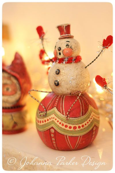 Johanna Parker Ronald-Ruby-snowman Original Folk Art by Johanna Parker Design, via Flickr