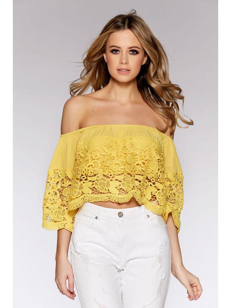 Yellow Crochet Bardot Top