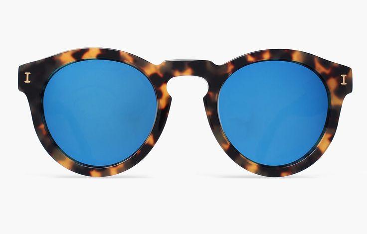 Illesteva Leonard Tortoise with Blue Mirrored Lenses, $177