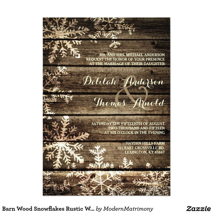 civil wedding invitation card%0A Shop Barn Wood Snowflakes Rustic Winter Wedding Card created by  ModernMatrimony