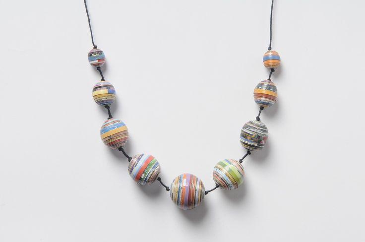 Magazine paper balls necklace