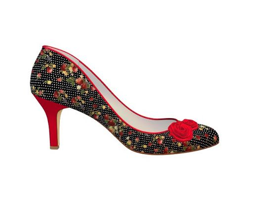 Black patterned heel with red accents. You can tell me this isn't totally adorable, but you would be wrong.