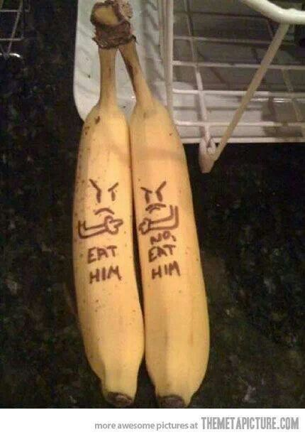 Funny food...drawn with a toothpick on the skin of under ripe bananas..it shows up the next day good for lunchbox love notes