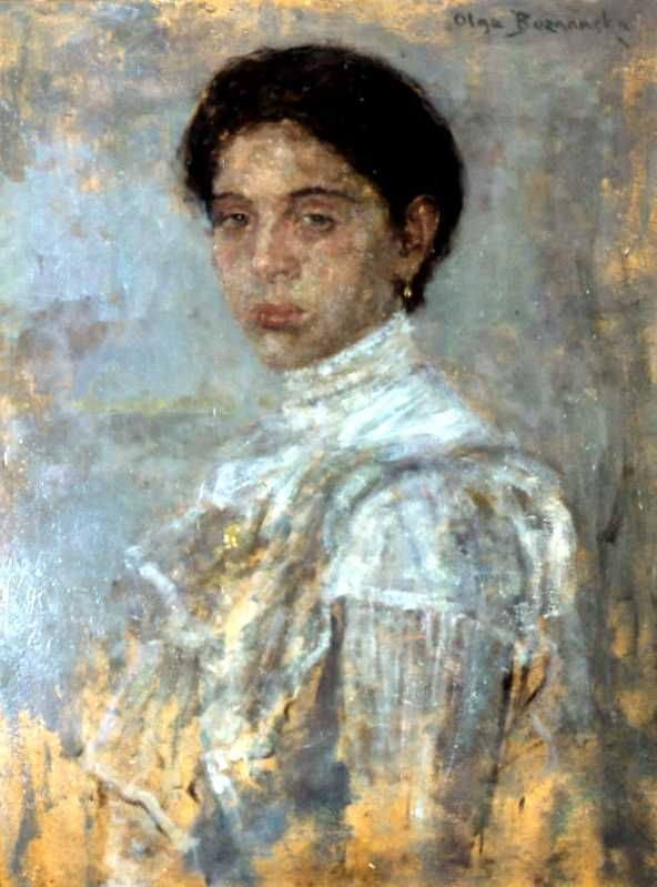 Olga Boznańska Portret pani w białej sukni, 1905 oil on cardboard.