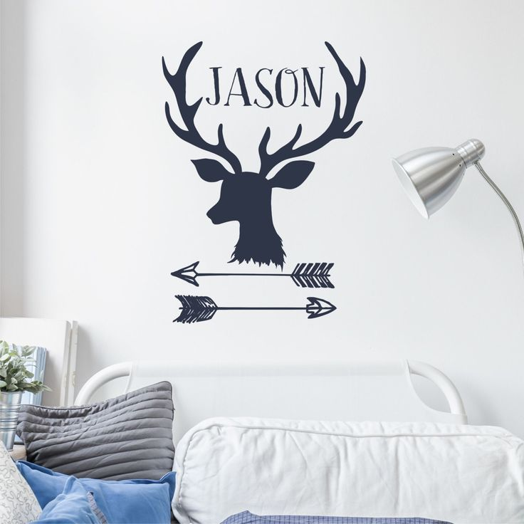 Nursery Wall Decal Deer Antler And Arrows Wall Art Hunting Theme Nursery Decor Boy's Bedroom Wall Art With Name To Decorate Bedroom Wall by AGreatBaby on Etsy https://www.etsy.com/listing/471773422/nursery-wall-decal-deer-antler-and