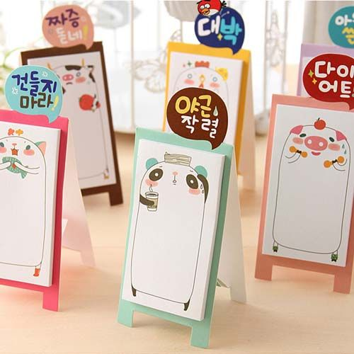 Cute Novelty Cartoon Animal Standing Sticky Notes Self-Stick Memo Pads Reminder (30 Sheets). USD6 for 4 notes with free shipping!