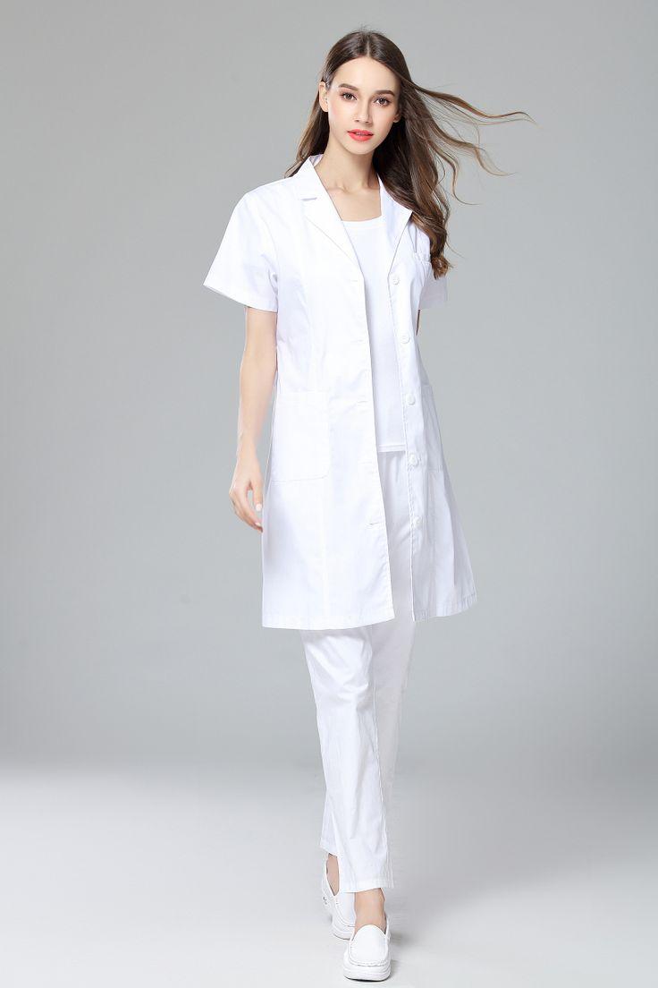 2017 New Doctor Labcoat Women's Summer Anti-wrinkle Short Sleeve Uniform Dental Clinic and Pet Hospital Doctor's White Coat