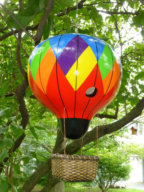 Birdhouse Hot Air Balloon Large Hand Painted by DesignsbySugarbear, $95.99