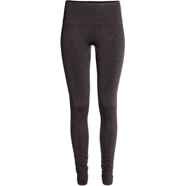 H&M Seamless yoga tights found on Polyvore featuring activewear, activewear pants, leggings, pant, black marl, h&m and yoga activewear