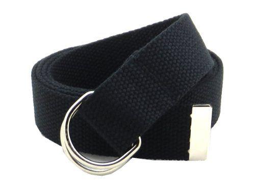 "Thin Canvas Web Belt D-Ring Buckle 1.25"" Wide Metal Tip Plus Size - Black-XXXL"