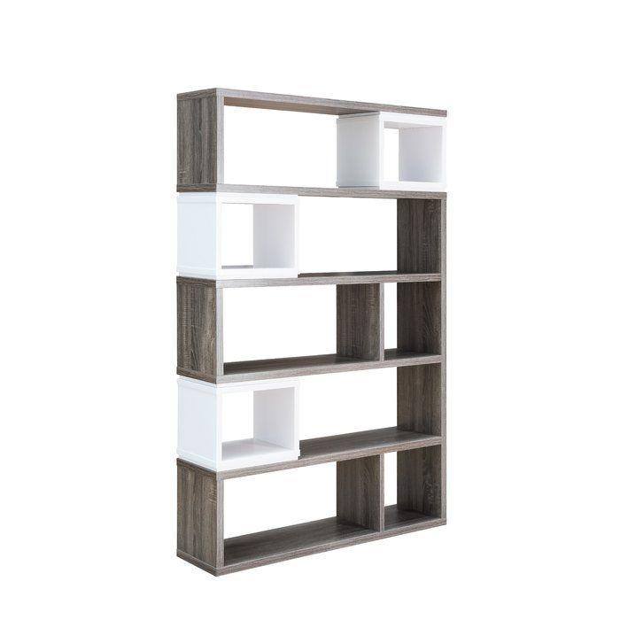 Orren Ellis Lefker Geometric Bookcase Wayfair Shelves Bookcase Display Shelves