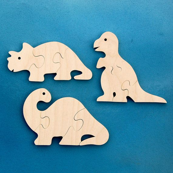 Wood Dinosaur Puzzles - Set of 3 Childrens Wooden Dino Toy Puzzles - Fun for Toddlers and Children via Etsy