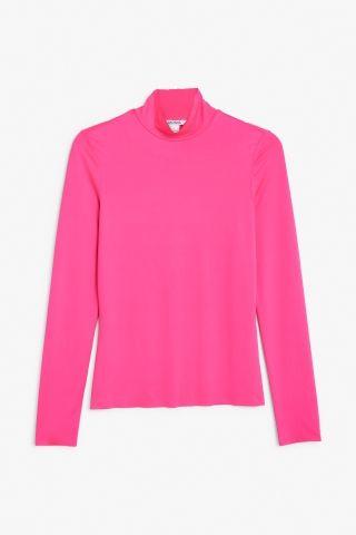 Monki Image 2 of Raw edge turtleneck top in Pink Neon