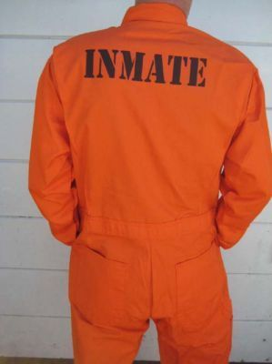 """Inmate"" or a similar phrase will be painted onto the back of the orange scrubs to add detail and authenticity to the outfit."