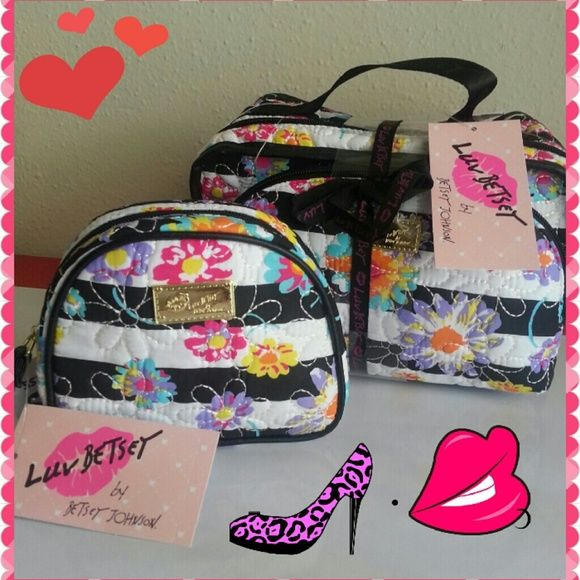 """SALE ♥ NWT Betsey Johnson Cosmetic Bag Set ♥ 3 pieces together. Measurements : big one 9.5"""" x 5"""" x 6"""" . Second one 8.5"""" x 2"""" x 5"""" . Small one 6"""" x 2"""" x 5"""" Betsey Johnson Bags Cosmetic Bags & Cases"""