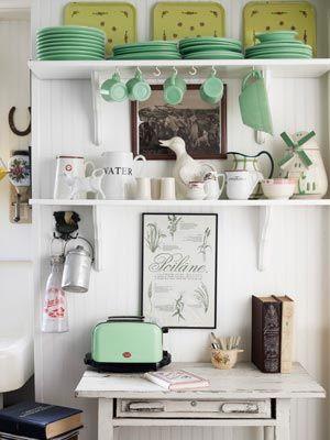 kitchen tableDecor, Ideas, Open Shelves, Mint Green, Beach House, Vintage Kitchens, Colors, Country Living, 1950