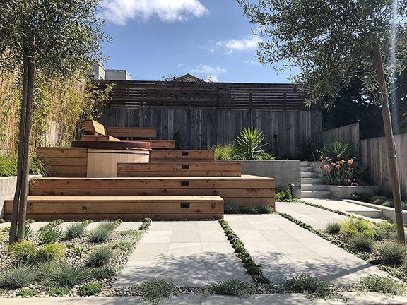 Drought Tolerant Garden Stone Paving Hot Tub Custom Bench And Enclosure Near Ocean Beach San Francisco L Landscape Design Drought Tolerant Garden Backyard