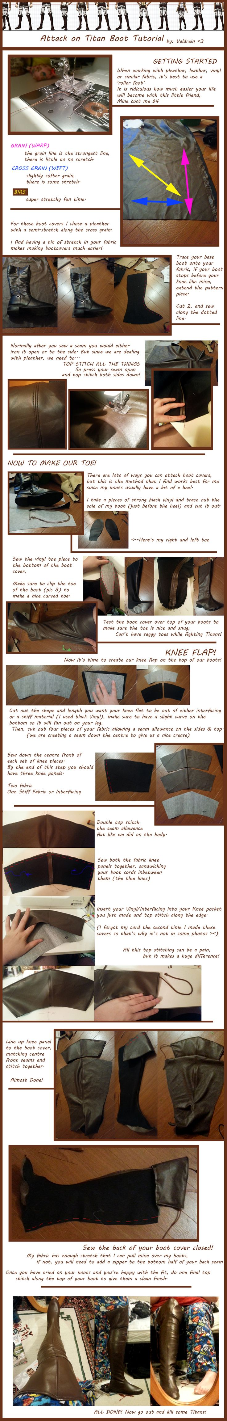 Attack on Titan bootcover tutorial! Exactly what I needed, and it wont ruin the boots being covered.