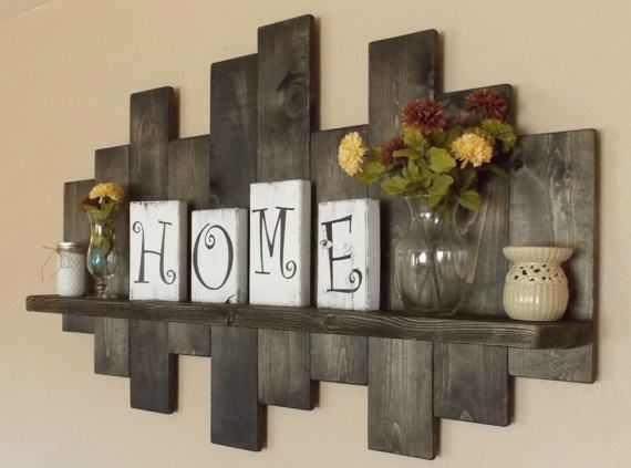 rustic offset shelf offset shelves wooden shelves shabby chic decor rustic home - Rustic Kitchen Decor Ideas